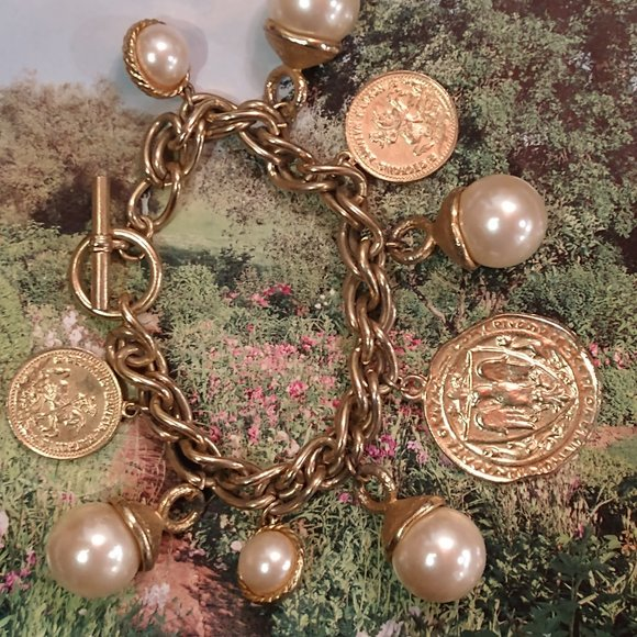 Vintage Monet Pearl And Coin Charm Bracelet